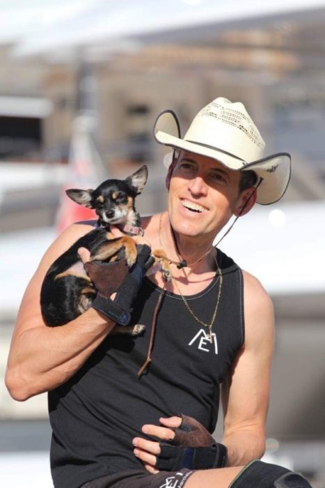 Erick Marchello – BMX STAR – le Cow-Boy de Saint-Tropez with his dog Hoppy in Monte-Carlo, Monaco 2